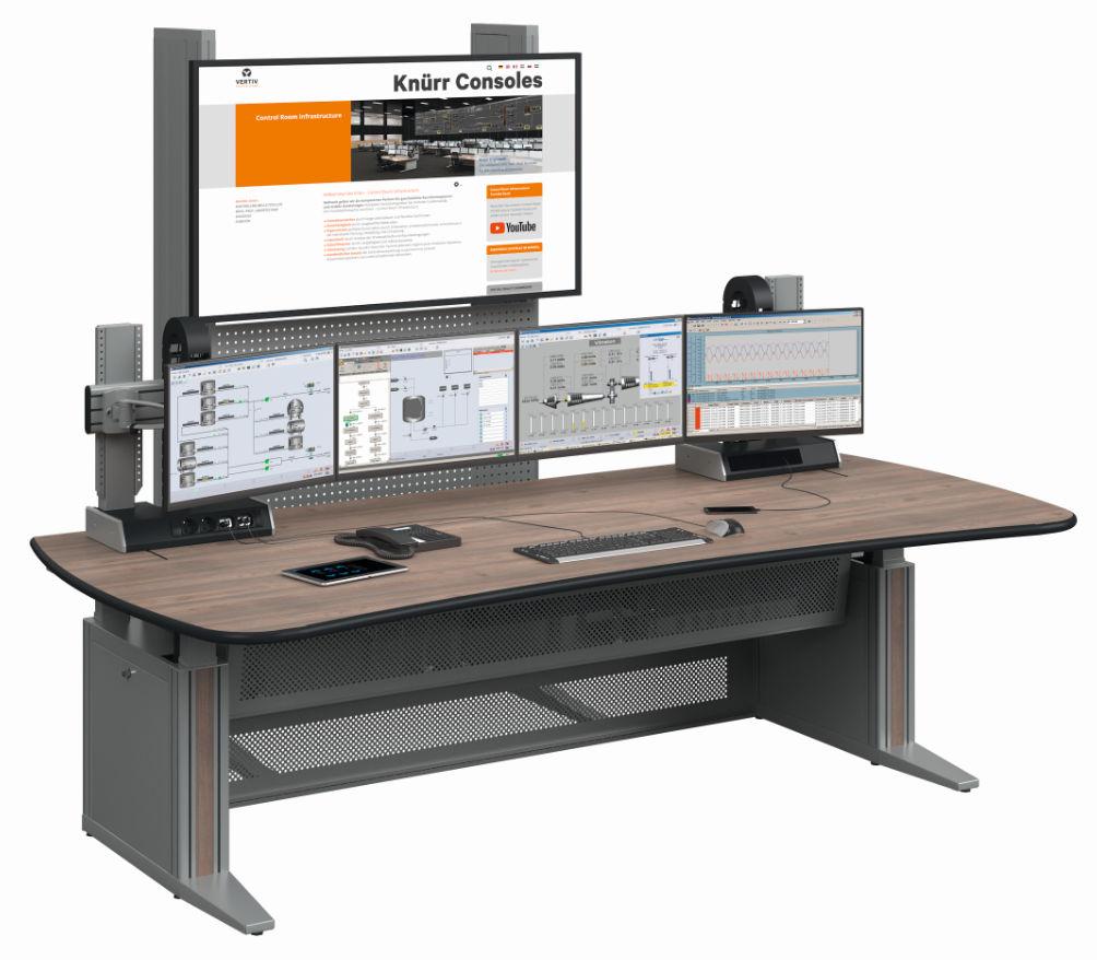 Bild für Nachricht Kontrollraumkonsole mit tiefenverstellbarer Monitorebene