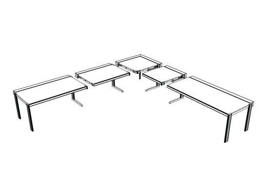 Drei Grundmodule ermöglichen Raumlayouts für vielfältigste Anwendungen: Abschlusstisch, Anbautisch und Eckelement.