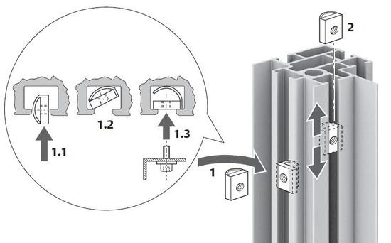 Befestigungsmöglichkeiten an den Profilen mit Federmutter