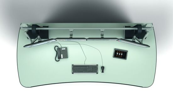 Zirkulare Anordnung der TFT mit verschieden langen Flachbildschirmhaltern.