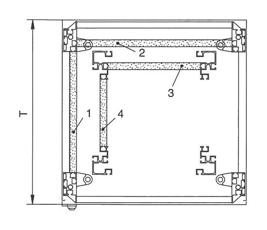 Einbauposition 2 an den Grundgestellprofilen in der Breite.